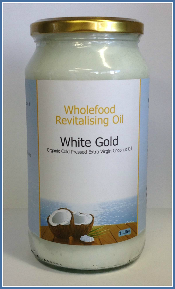 White Gold 1 Litre Jars Organic Cold Pressed Extra Virgin Coconut Oil