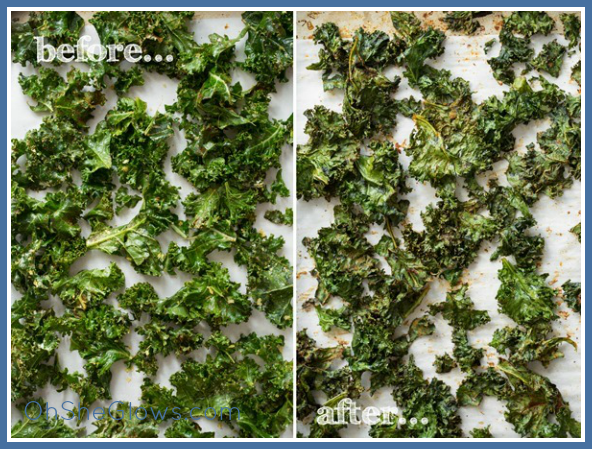 Kale Coconut Chips Before and After